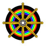 Representation of the Dharmachakra incorporating an encircling Rainbow and central Lotus